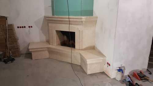 Облицовка камина мрамором Крема Нова