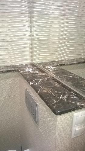 Облицовка мрамором ванной комнаты
